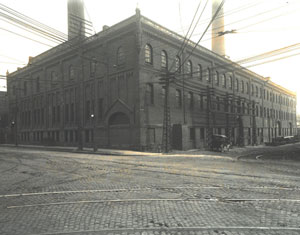 Toronto Street Railway Company Stables Building at 165 Front Street East, Toronto; circa 1887.